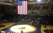 PHS gym set up for a wrestling tournament