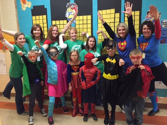 Students and staff dressed up as Superheroes for Right to Read Week!