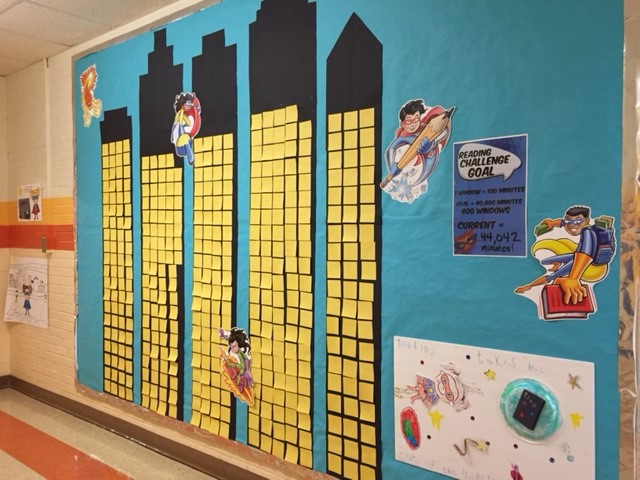 We met our Right to Read Week Reading Goal! Dr. W will dress up like a Superhero!