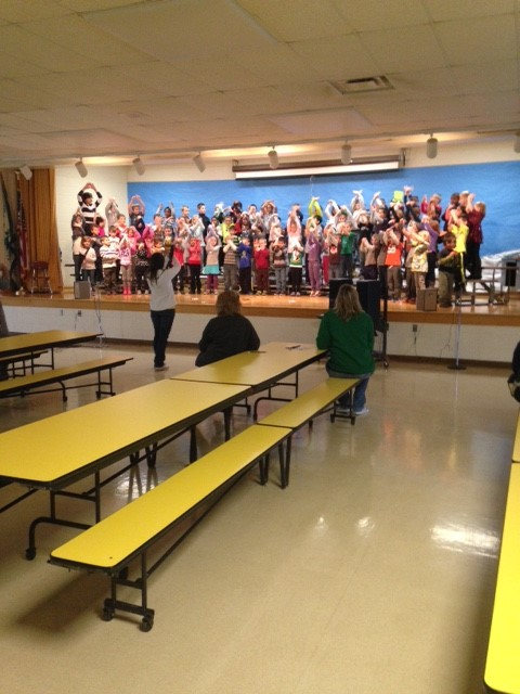 First Grade Practicing for Holiday Concert!:)