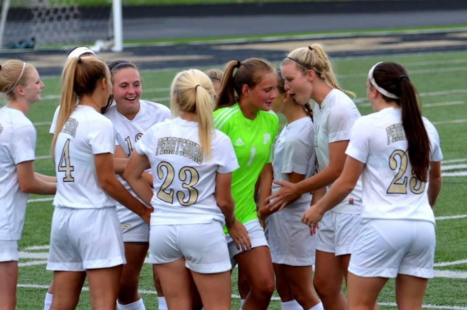PHS girls soccer team celebrates a victory