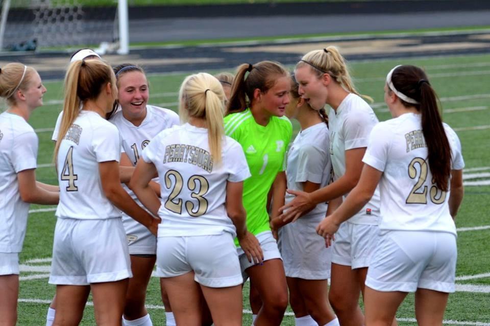 PHS girls soccer team celebrates a victory