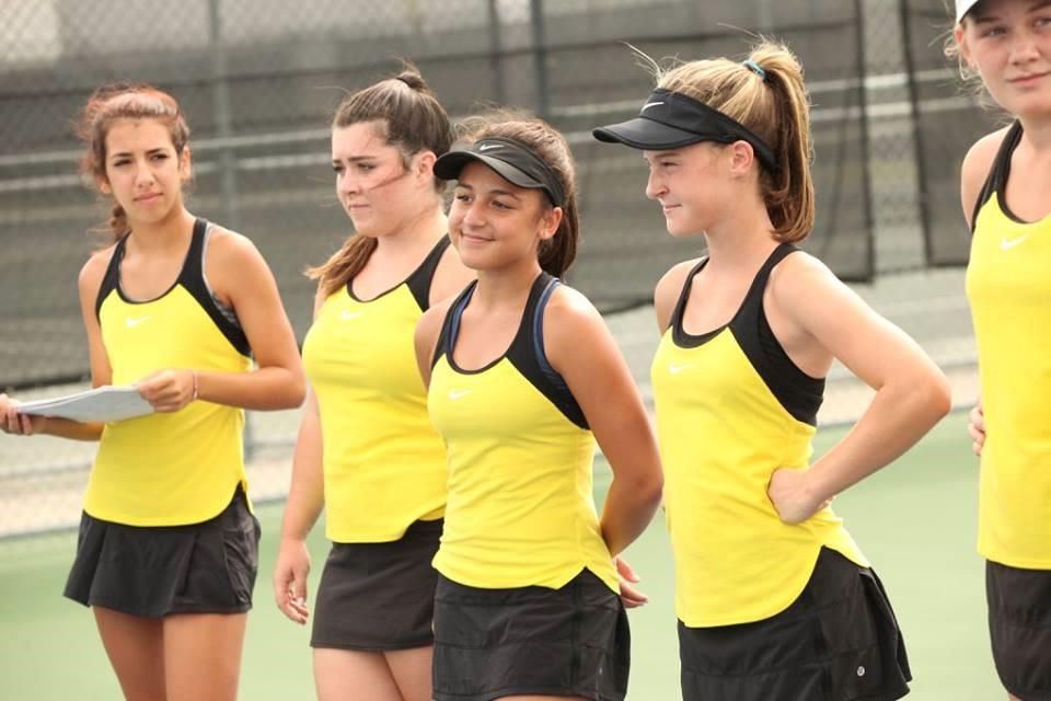 PHS girls tennis team announcing the matches