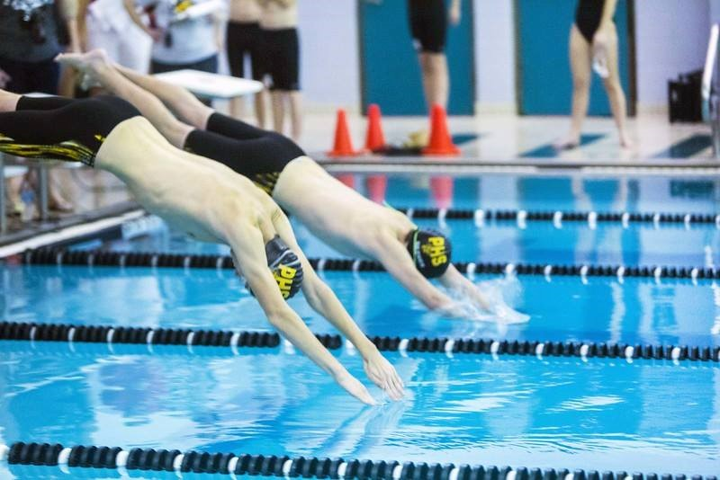 PHS student athlete diving into the pool