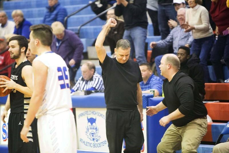 Coach celebrating a victory