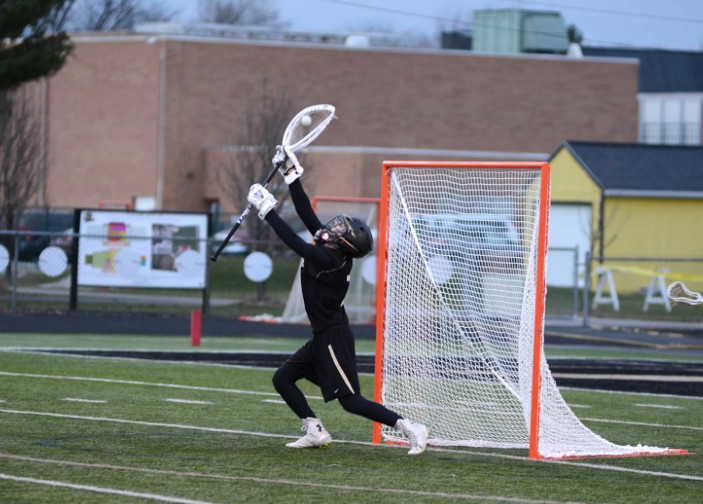 PHS student athlete playing lacrosse goalie