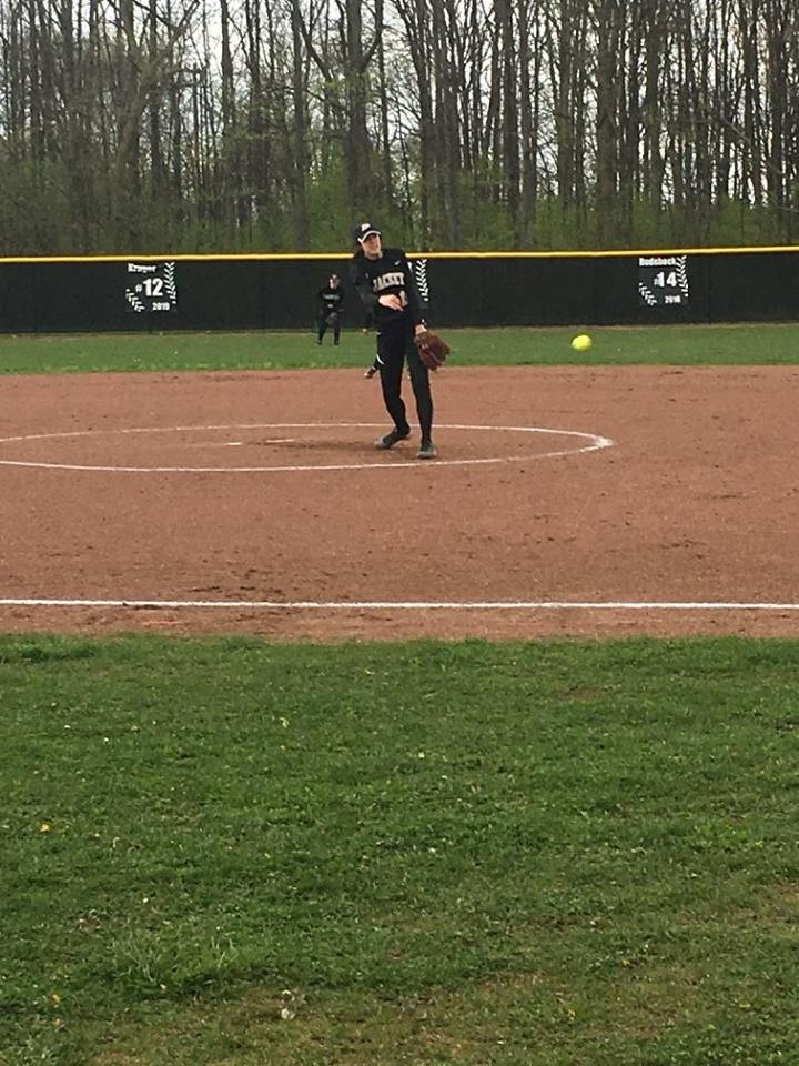 PHS student athlete pitching a softball