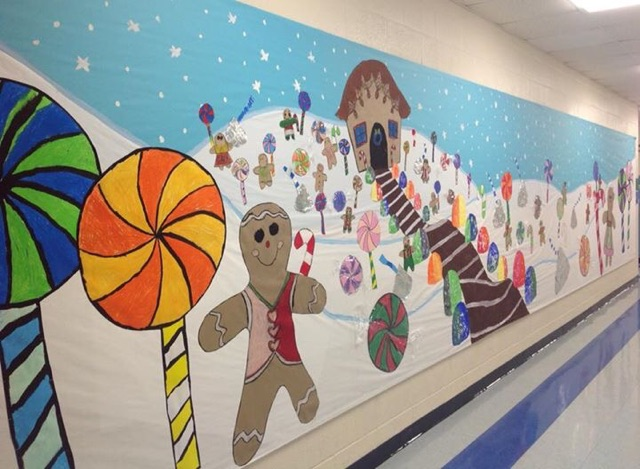 Winter art in hallway