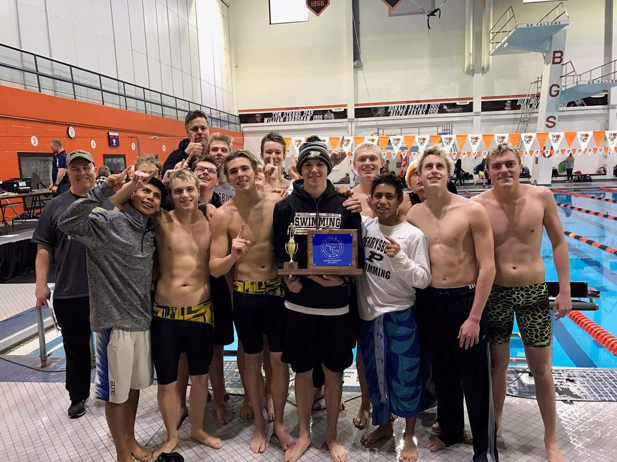PHS boys swimmers celebrating a league championship
