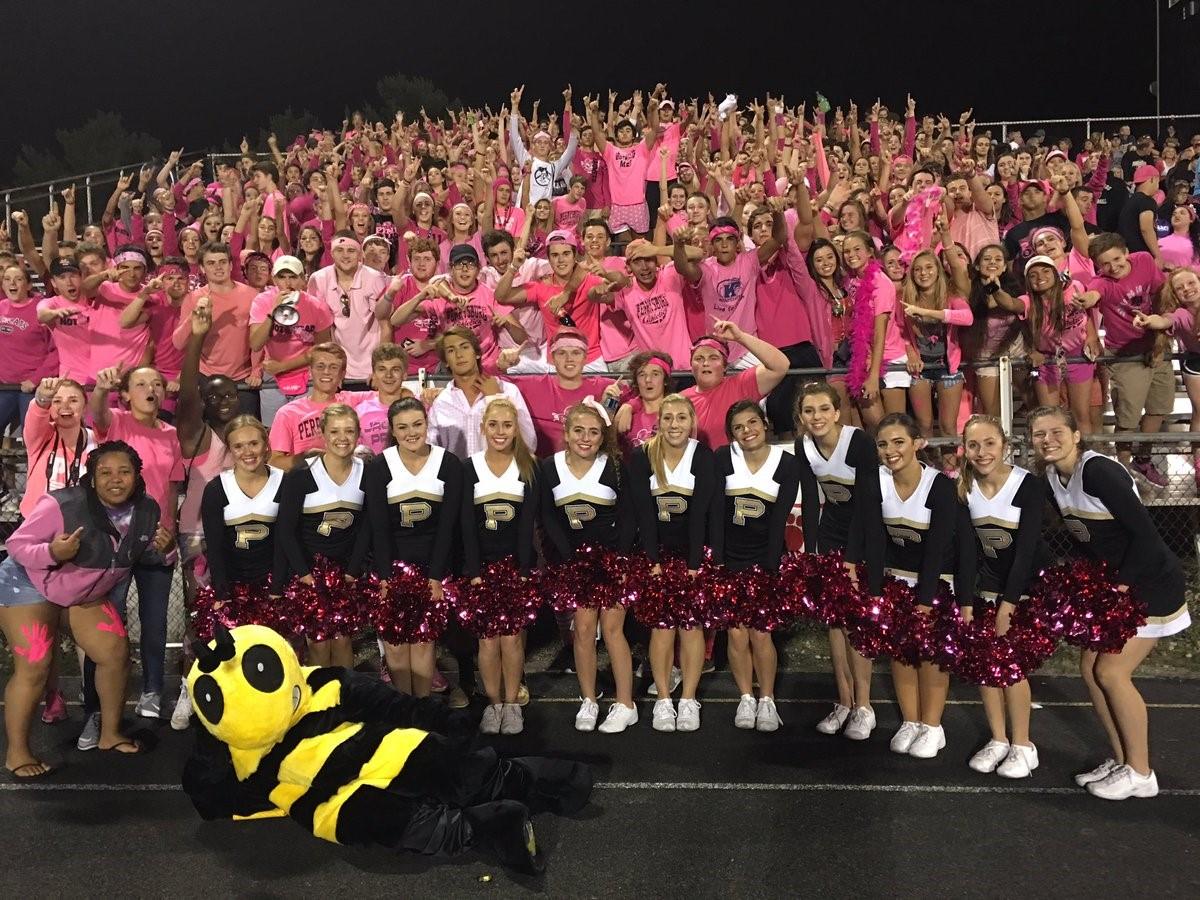 PHS students cheering at a football game