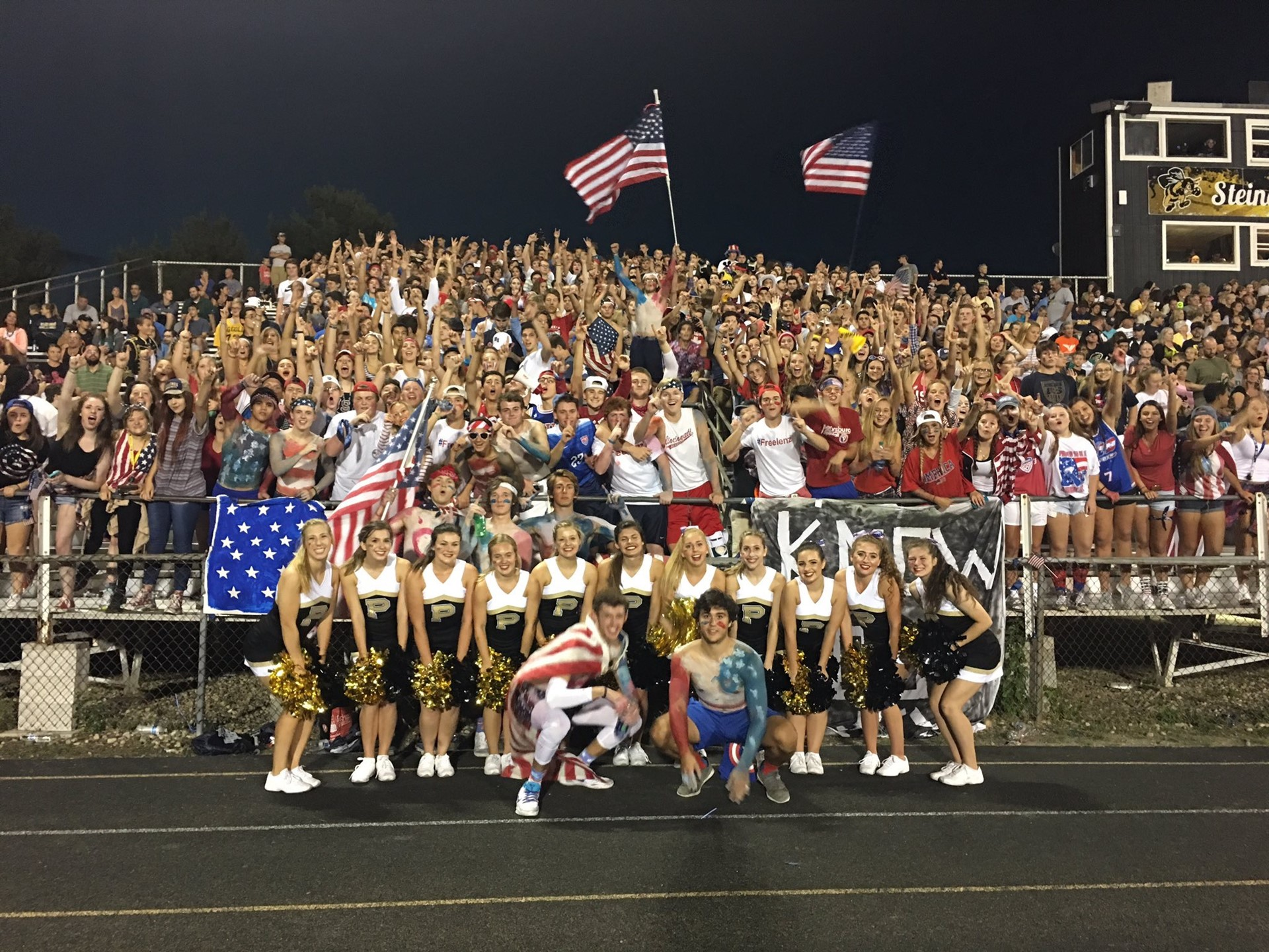 PHS students cheering at a football game