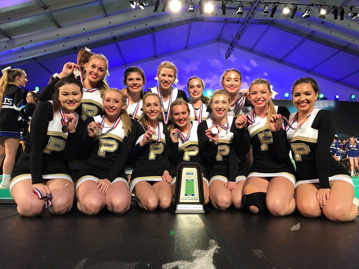 PHS cheerleaders celebrating victory at the National competition