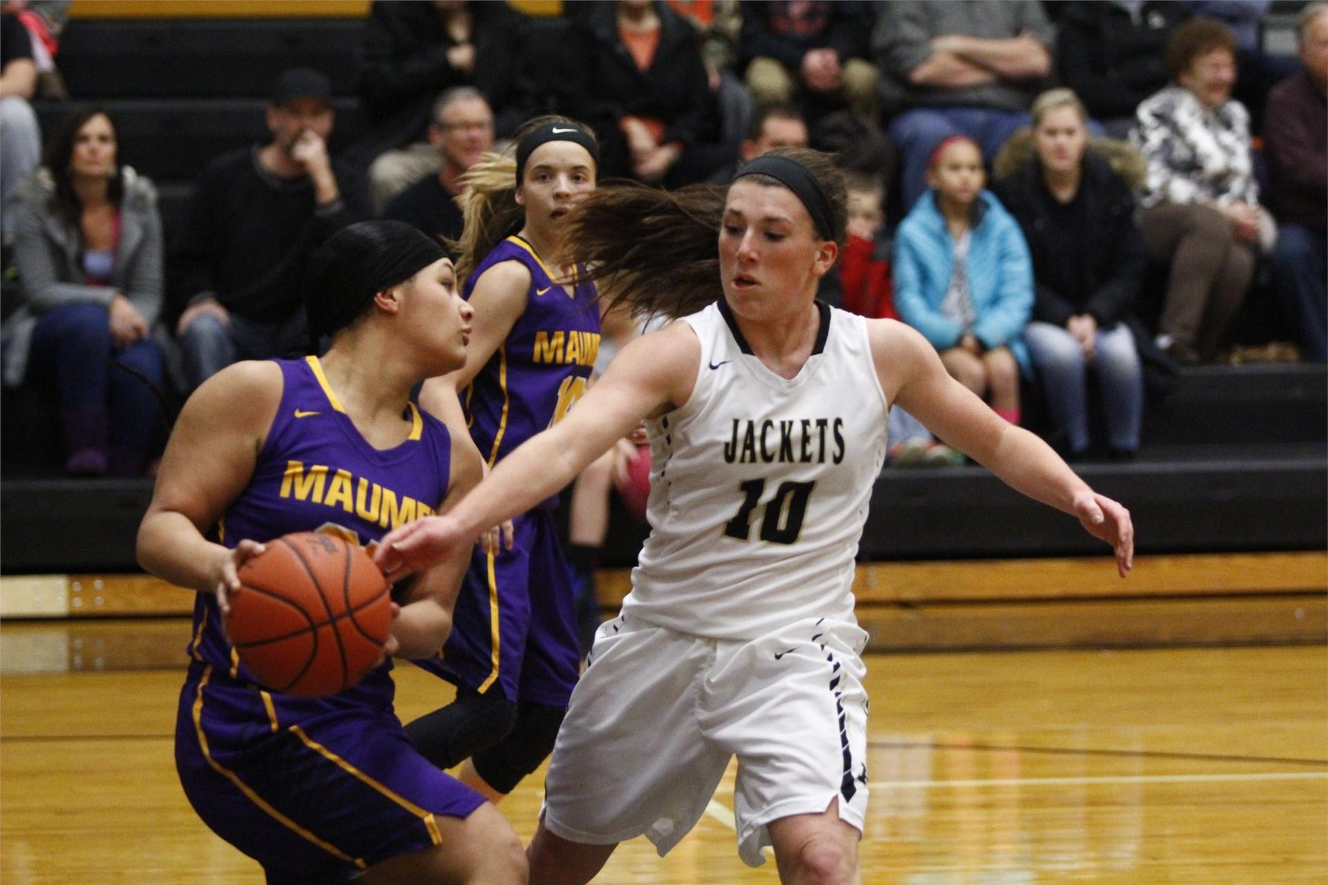 PHS student athlete defending the basketball