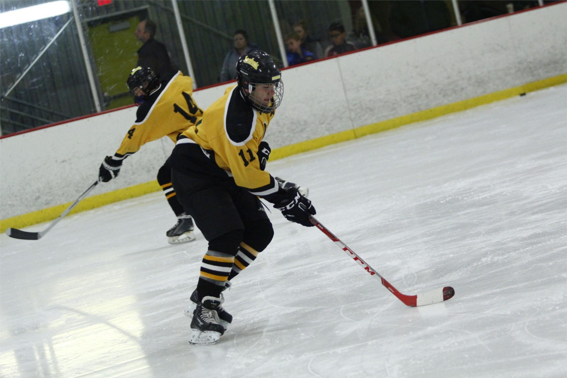 PHS student athlete handling a puck