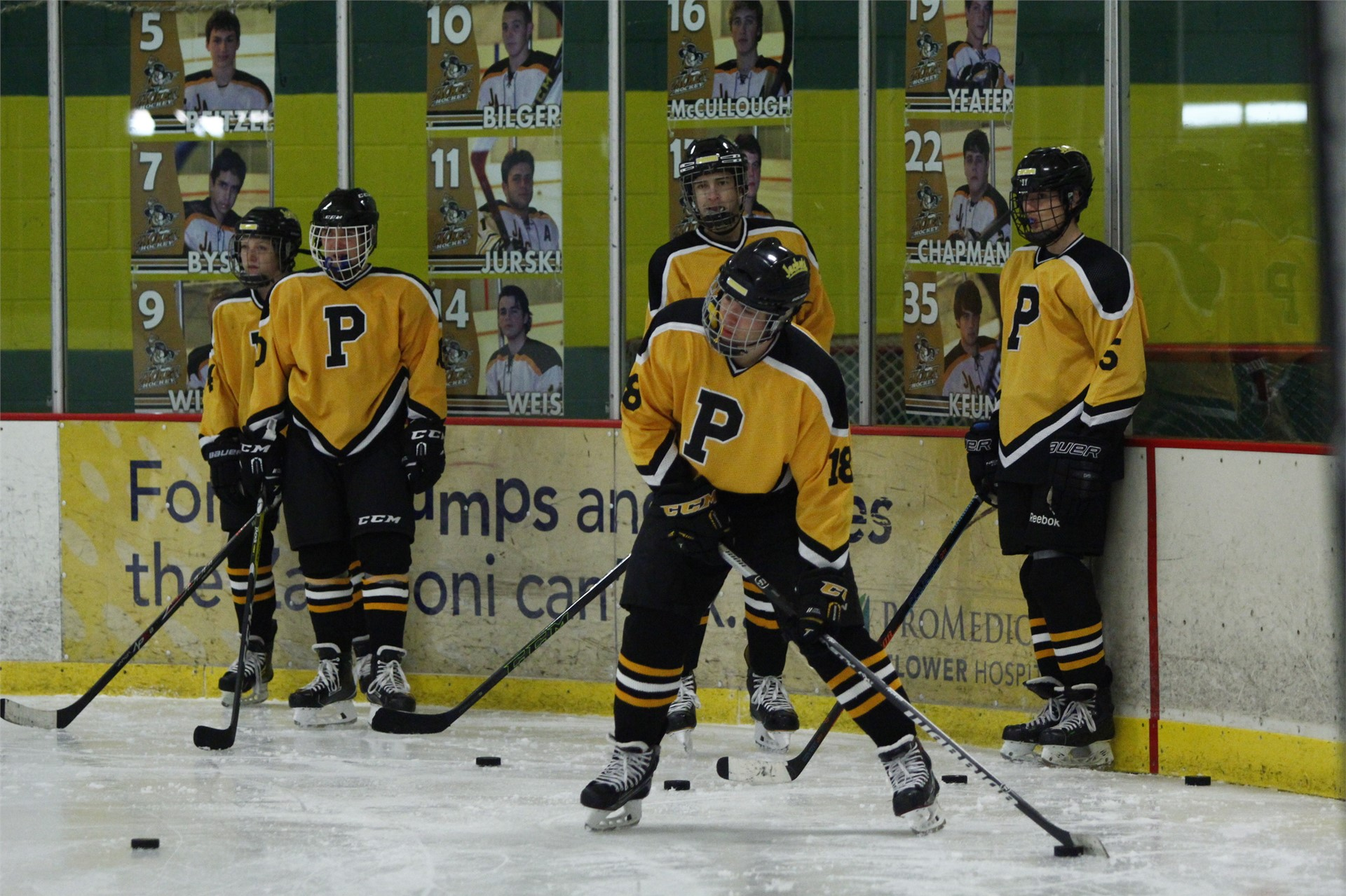 PHS student athletes warming up before a hockey game
