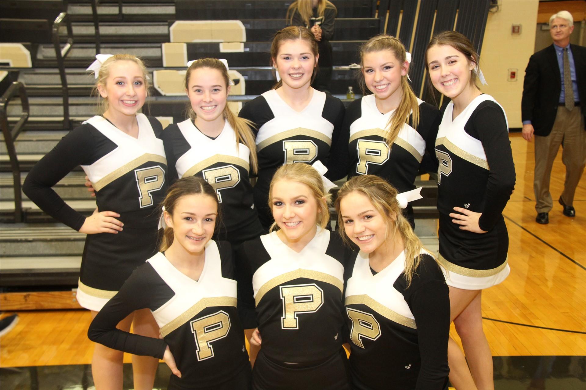 PHS cheerleader performing at a game