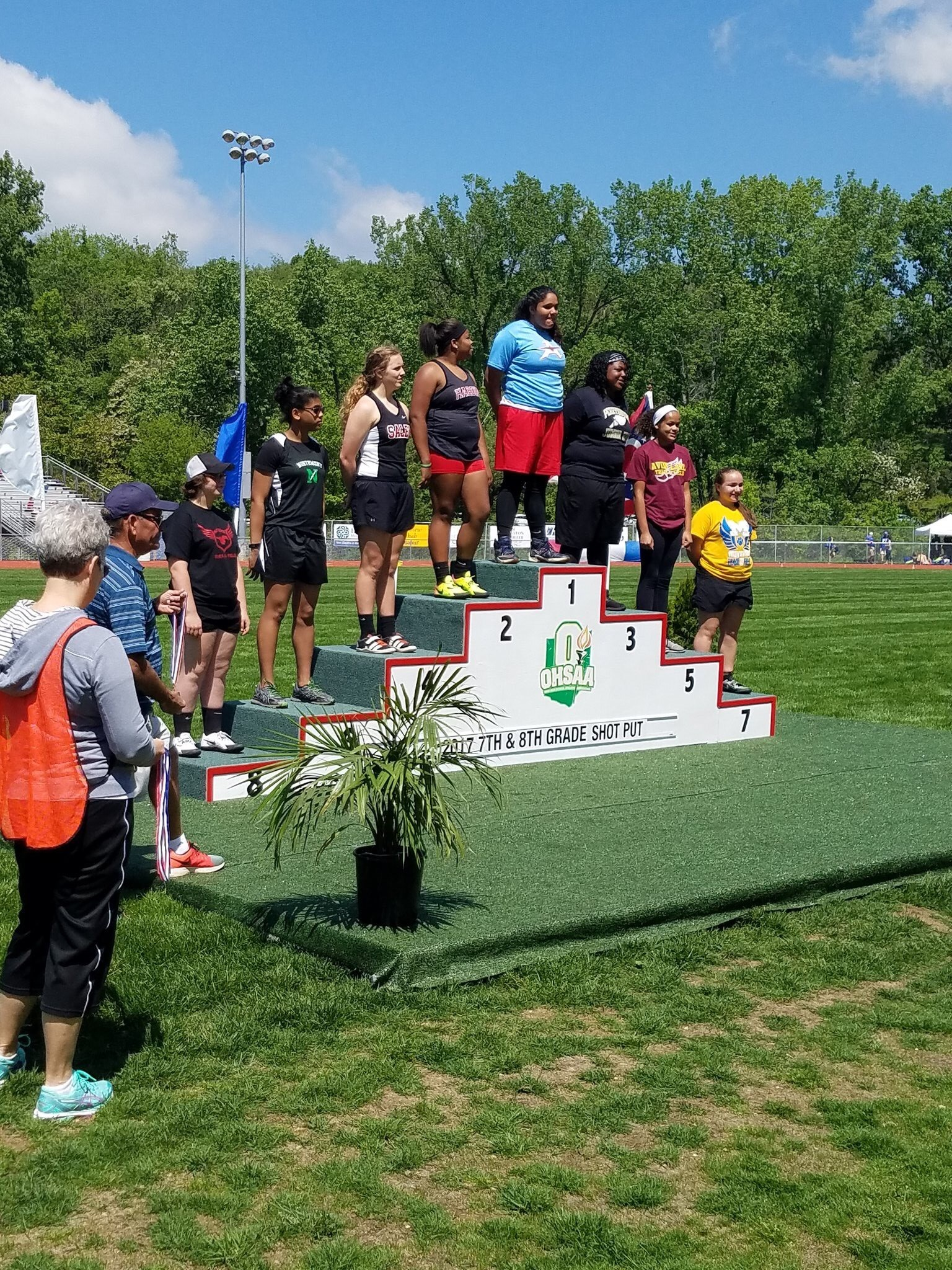 Tajiana Pickett being honored at the Junior High State Track and Field Championships