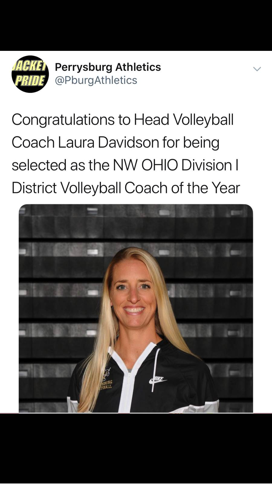Coach Davidson NW Ohio Coach of the Year 2018