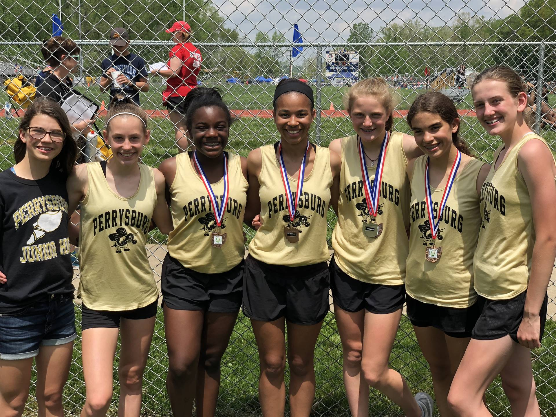 Members of the PJHS girls track and field team qualified for the Jr. High State Championships in Lan