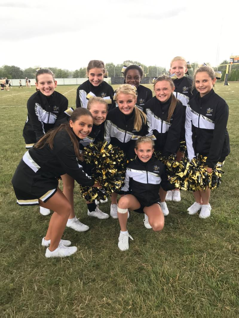 PJHS Cheerleaders cheer on the Jacket Football team.