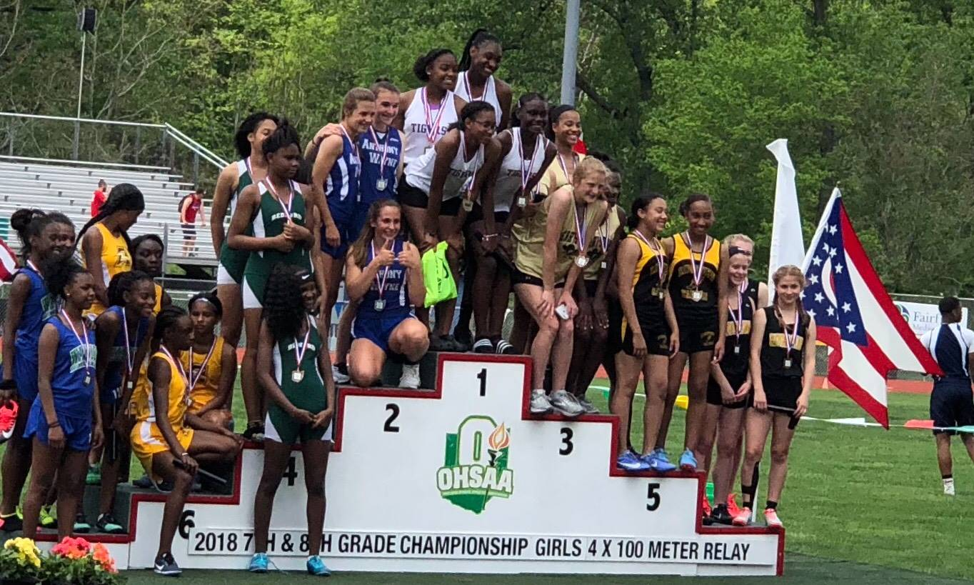 The girls 4x100 relay team of Sophia Navarette, Michaela Christie, Kennedy Olds, and Adelle Francis