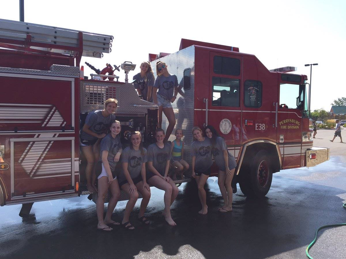 Washing a Fire Truck