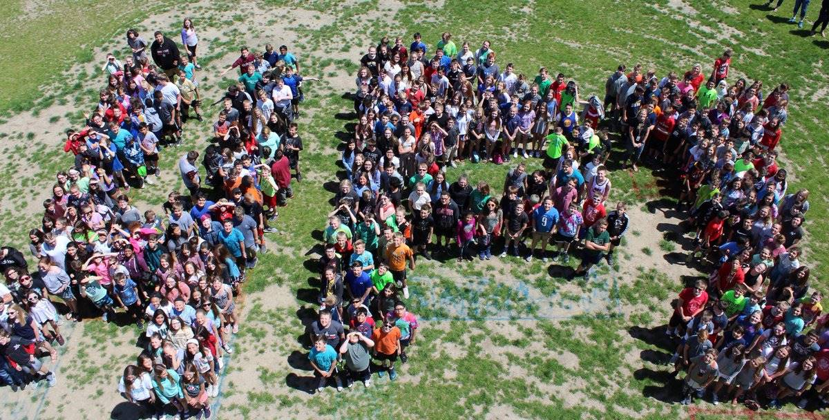 Aerial shot of our the first group of 6th graders at HPI.