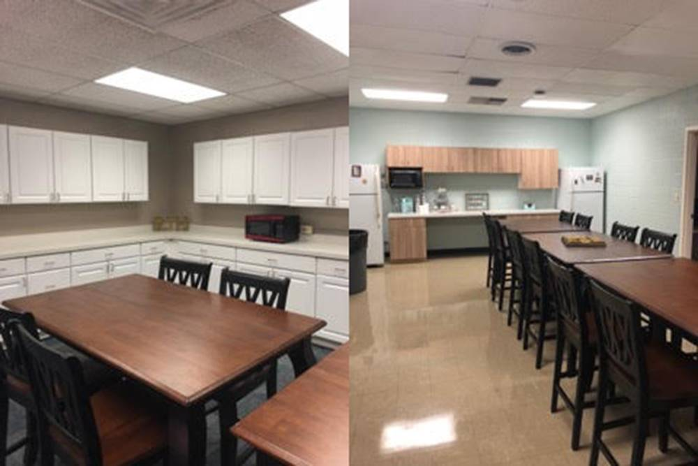 two images of renovated staff lounges