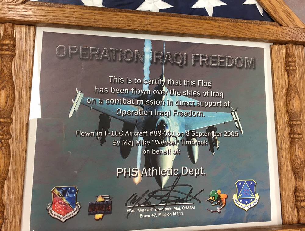 Flag flown in Operation Iraqi Freedom for PHS athletic department