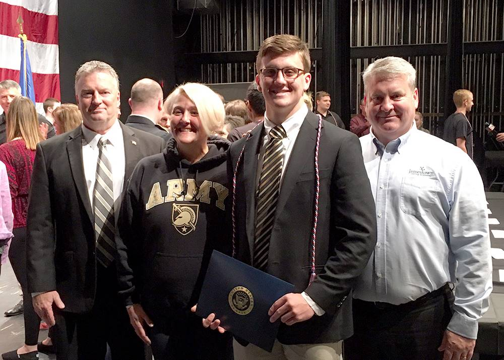 student and family at military signing day