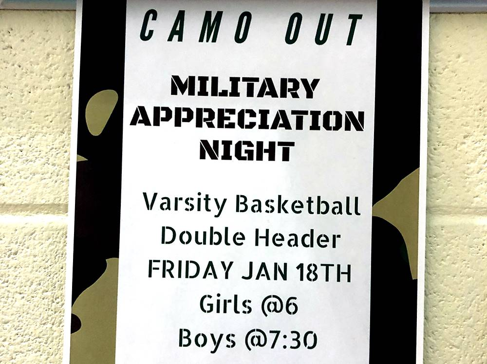 "Poster for ""Camo Out"" Military Appreciation Night at basketball game"