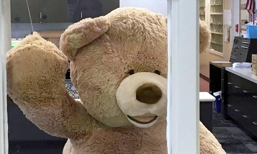 Large teddy bear waving hello