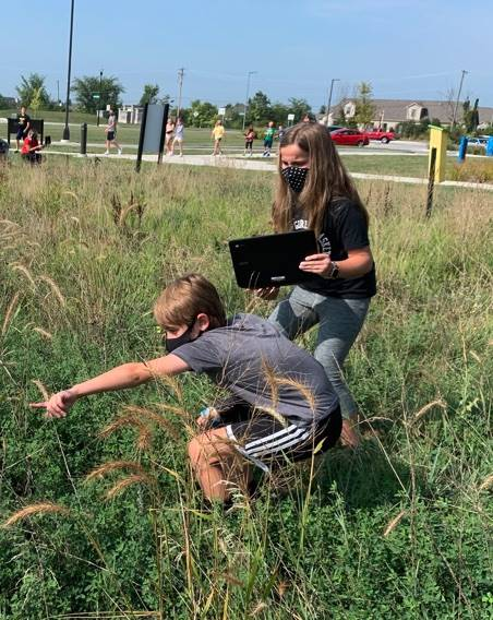 Students in the prairie.